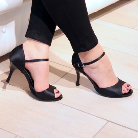 BL01 - Rosso Latino - Chaussure de danse en satin noir