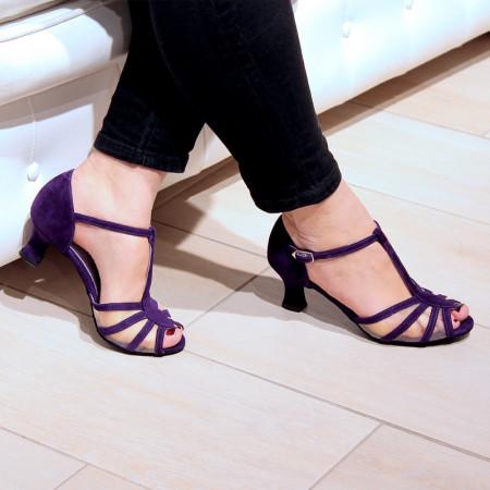 Karmina - Chaussures de danse de salon ouverte à bride salomé en daim coloris violet - Merlet