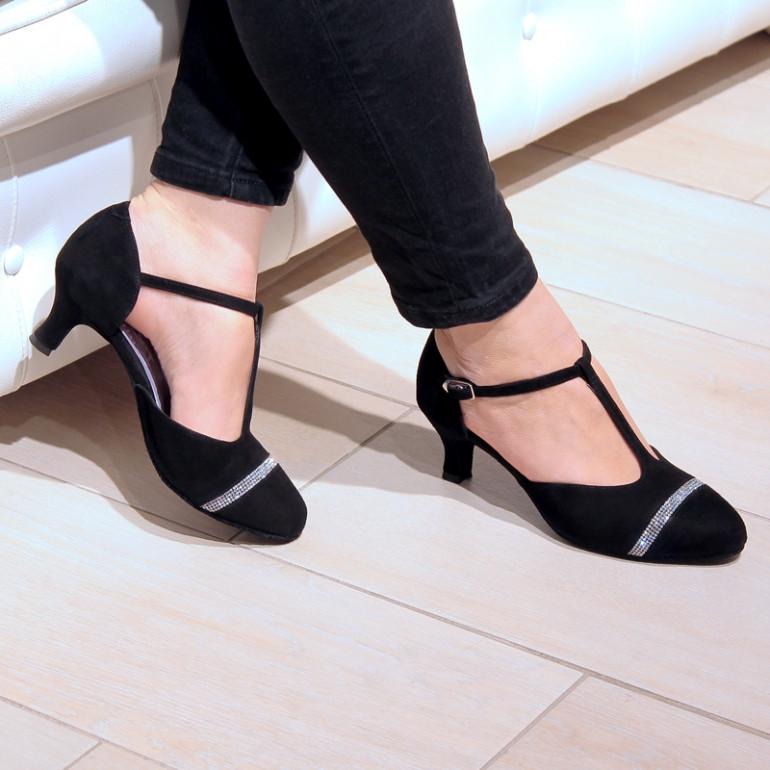 Adelo - Chaussures de danse de salon fermée en cuir nubuck noir et strass - Merlet