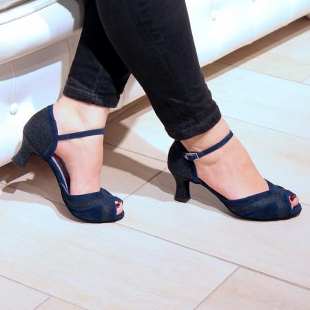Kaly - Chaussure de danse ouverte en nubuck bleu nuit et cuir pailleté - Merlet