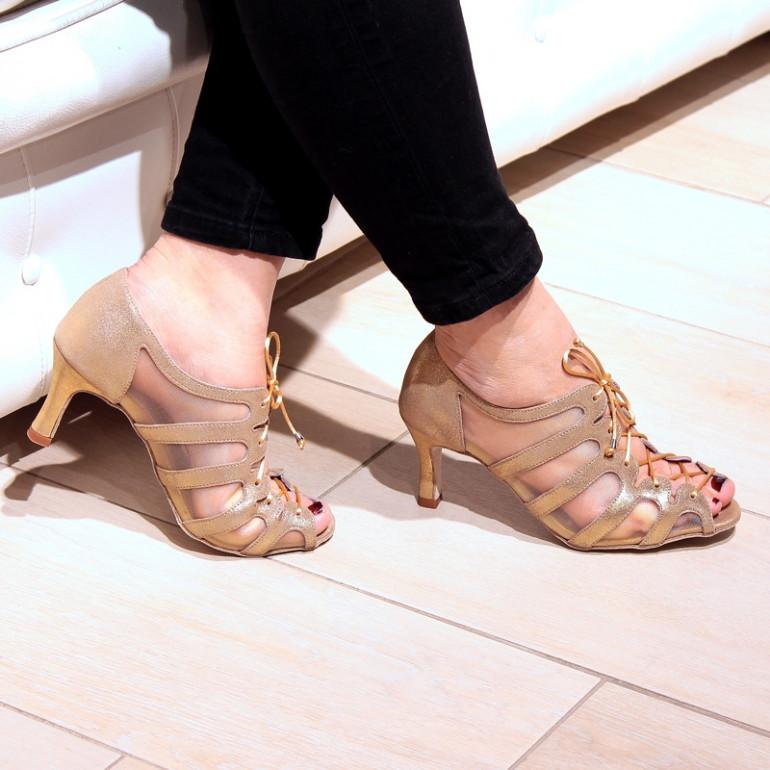 Sya - Chaussures de danse en résille et daim or métallisé - Merlet