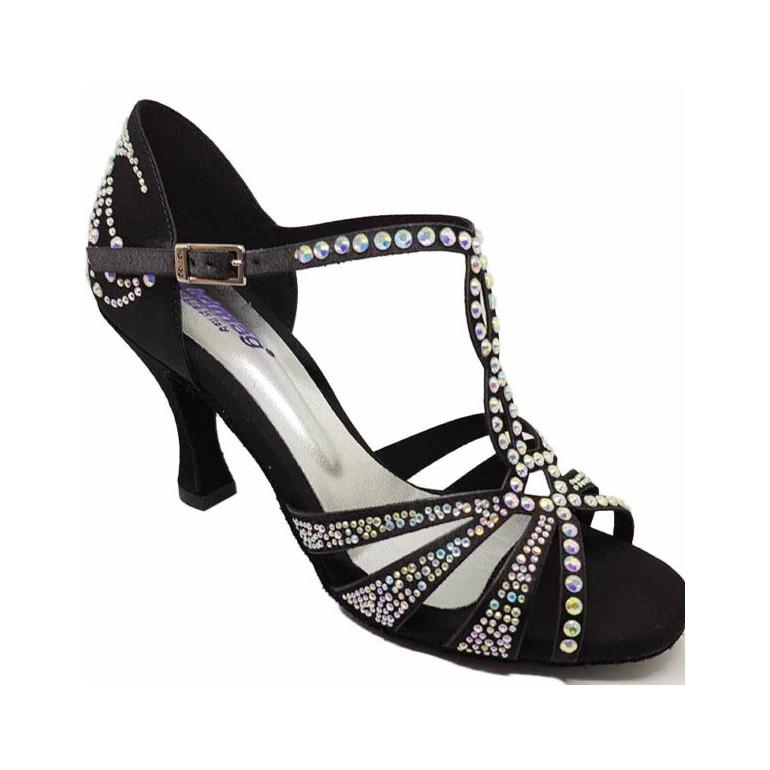Chaussures de danse à bride salomé en satin tan et strass - Lidmag