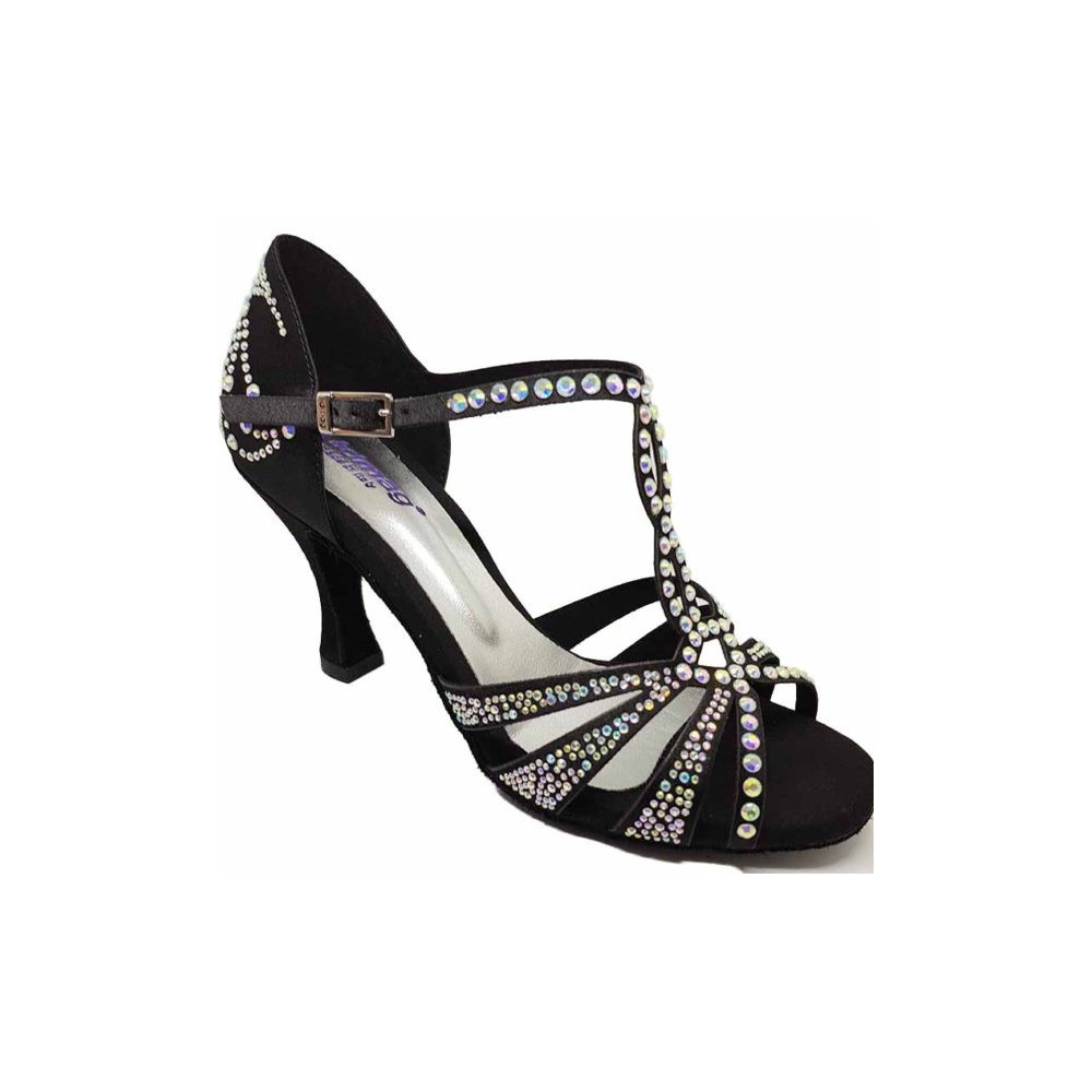 Chaussures de danse à bride salomé en satin noir et strass - Lidmag