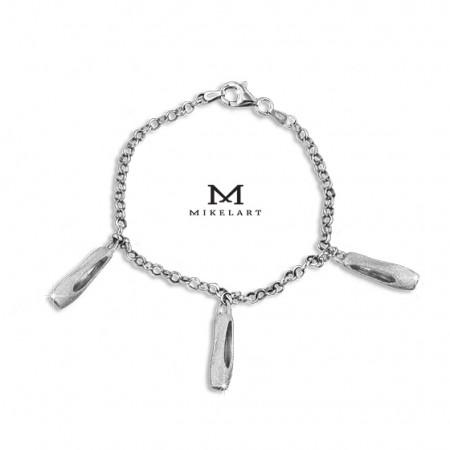 """Bracelet avec breloques """"pointes"""" en argent - Mikelart"""