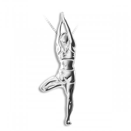 """Pendentif yoga """"la position de l'arbre"""" avec cordon ROUGE - Mikelart"""