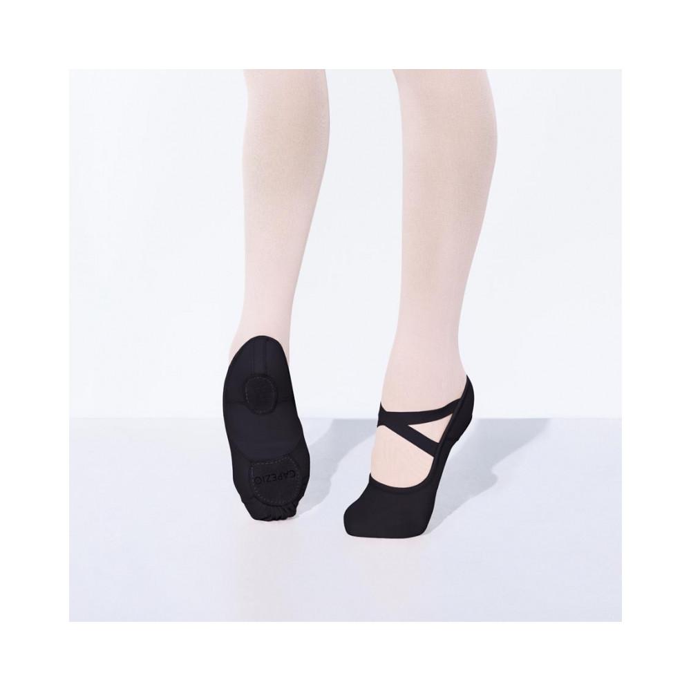 La célèbre demi-pointe Hanami™ pour adulte en toile noire extensible et bi-semelle - Capezio