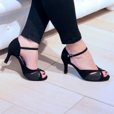 Saphir - Chaussures de danse de salon en nubuck noir et cuir pailleté argent- Merlet