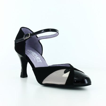 Nemy - Chaussures de danse en cuir nubuck, verni et résille, talon 6,5cm