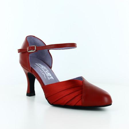 Nilya - Chaussure de danse fermée en satin et cuir rouge