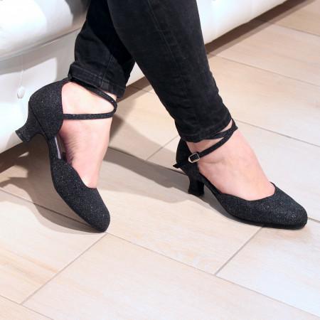 Badras - Chaussures de danse fermée en cuir pailleté argent - Merlet