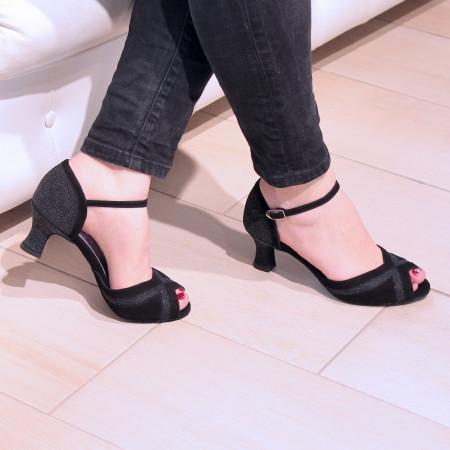 Kaly - Chaussure de danse ouverte en nubuck noir et pailleté argent - Merlet