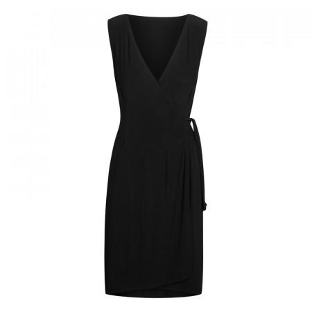 NANCY - Robe portefeuille de danse de salon en viscose noire à nouer sur le côté