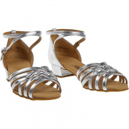 008 Diamant - Chaussures de danse argentées à lanières avec talon bloc de 2,8cm