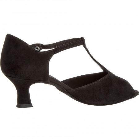 010 Diamant - Chaussures de danse noires à bride salomé strassée et talon 5cm