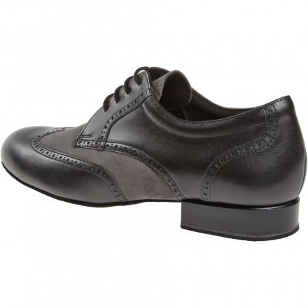 099 Diamant - Chaussures de danse pieds larges en cuir noir et gris à talons 2cm