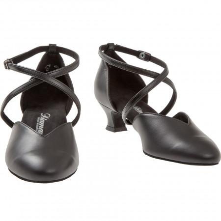 107 Diamant - Chaussure de danse en V en cuir noir, semelle confort à talon 4cm