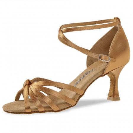 109 Diamant - Chaussures de danses latines en satin bronze à bride, talon de 6,5cm