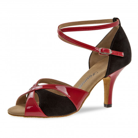 141 Diamant - Chaussures de danse en rouge verni et nubuck noir talons fin 7,5cm
