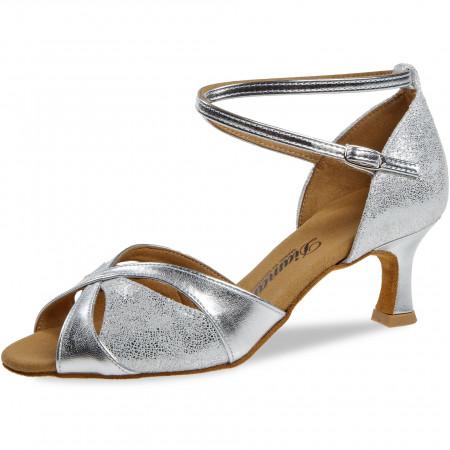 141 Diamant - Chaussures de danse en daim argenté à talons évasé de 5cm
