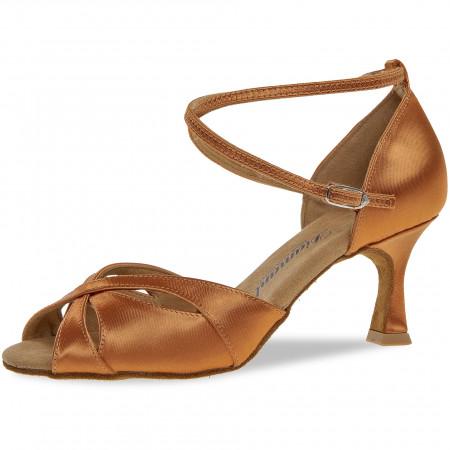 141 Diamant - Chaussures de danses latines en satin tan à talons évasé de 6,5cm