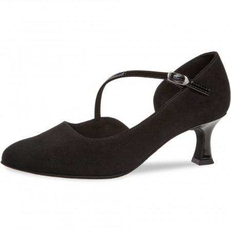 174 Diamant - Chaussures de danse standard en nubuck et cuir verni noir talons 5cm