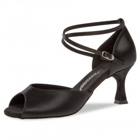 017 Diamant - Chaussures de danse ouvertes en satin noir à talon évasé 6,5cm