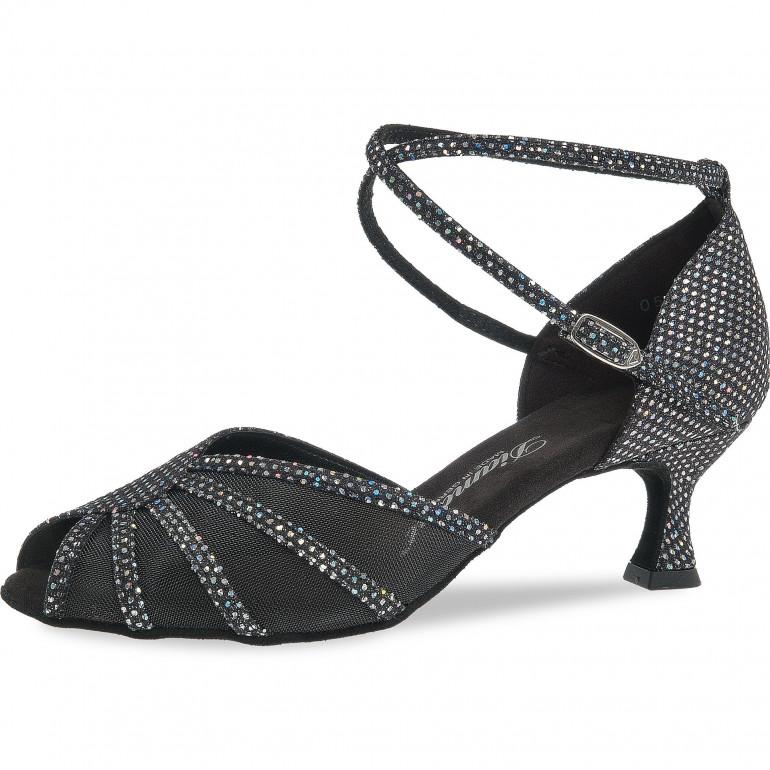 020 Diamant - Chaussures de danse en tissu noir pailleté et résille talon évasé 5cm