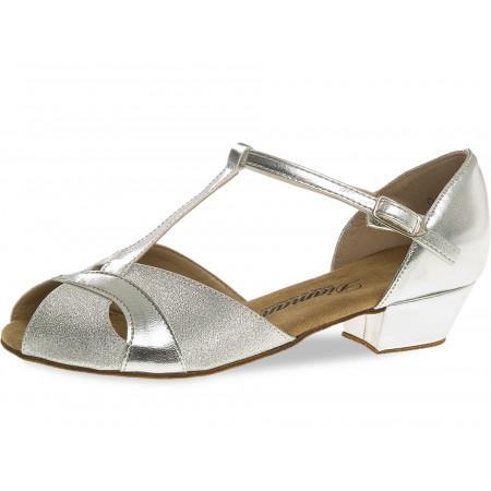 031 Diamant - Chaussures de danse enfant en synthétique argent et talon 2,5cm