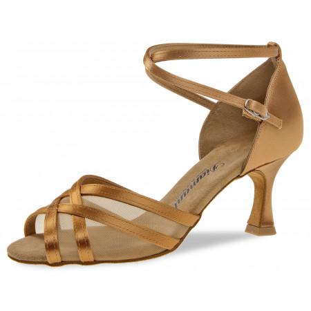 035 Diamant - Chaussures de danse en satin bronze et résille à talon 6,5cm
