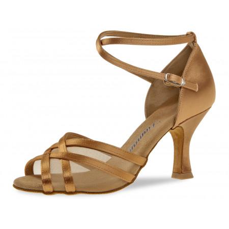 035 Diamant - Chaussures de danse en satin bronze et résille à talon 7cm