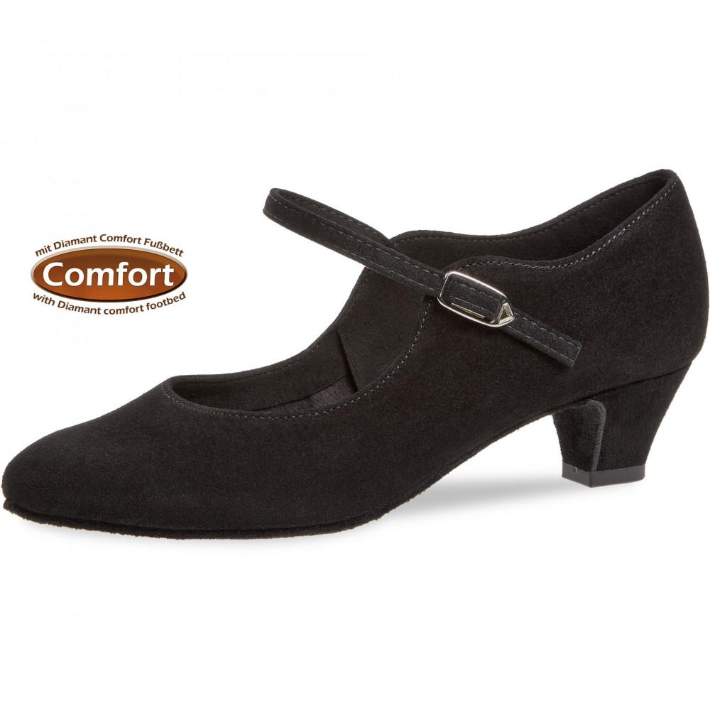 050 Diamant - Chaussures de danse en nubuck noir, semelle confort à talon 4,5cm