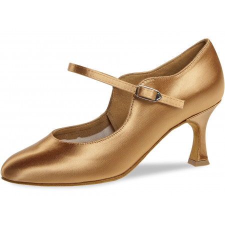 050 Diamant - Chaussures de danse standard en satin bronze à talon évasé 6,5cm