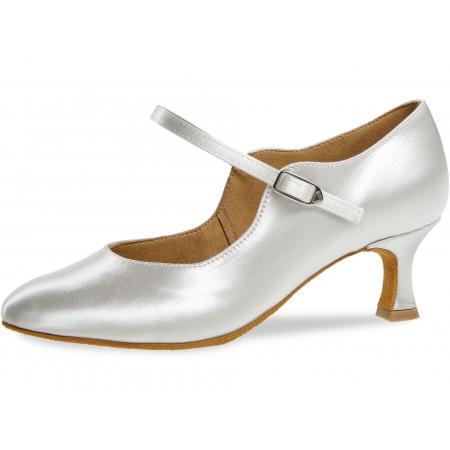050 Diamant - Chaussures de danse standard en satin blanc à talon bobine 5cm