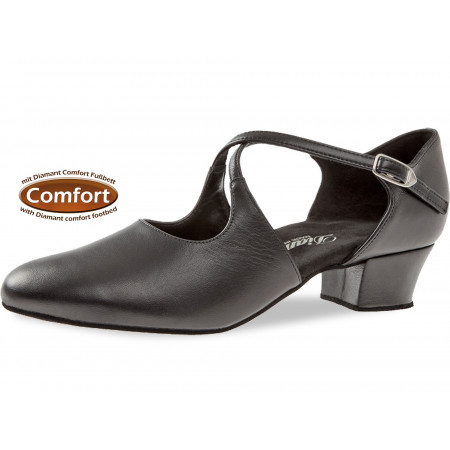 052 Diamant - Chaussures de danse en cuir noir, semelle confort et talon 3,7cm