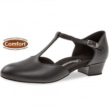 053 Diamant - Chaussures de danse en cuir noir et semelle confort à talon bloc 3cm