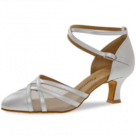 147 Diamant - Chaussures de danse fermées en cuir perlé blanc à talons évasés 5cm