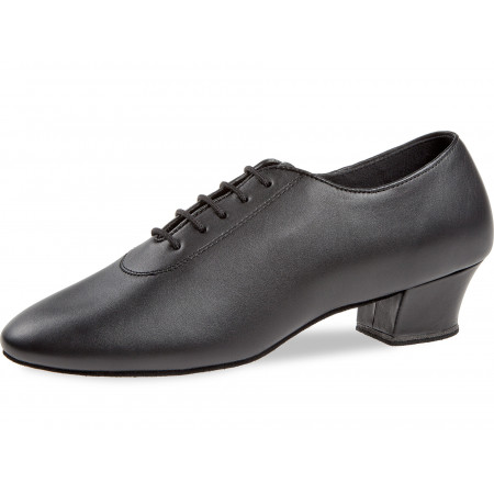 091 Diamant - Chaussures de danses latines en cuir noir avec talons cubains 4cm