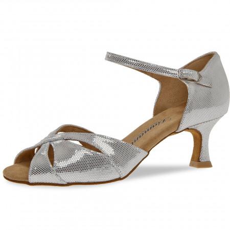144 Diamant - Chaussures de danse en cuir blanc et argent à talons évasé de 5cm