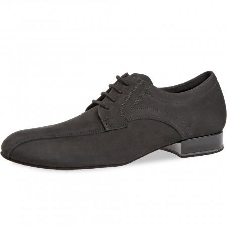 094 Diamant - Chaussures de danse pieds larges en nubuck noir et talons de 2cm
