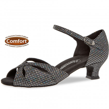 144 Diamant - Chaussures de danse semelle confort en toile pailletée à talons 4,2cm