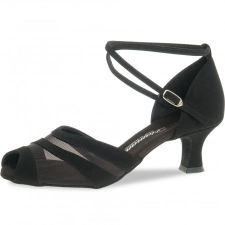 102 Diamant - Chaussures de danse en V en synthétique noir et résille à talon 5cm