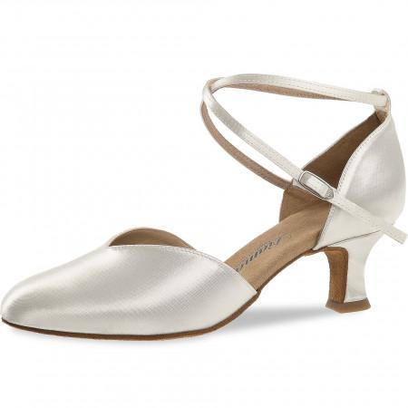 105 Diamant - Chaussures de danse fermées en V en satin blanc à talons 5cm