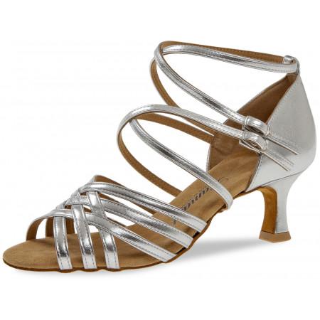 108 Diamant - Chaussures de danses latines en synthétique argent à talon évasé 5cm