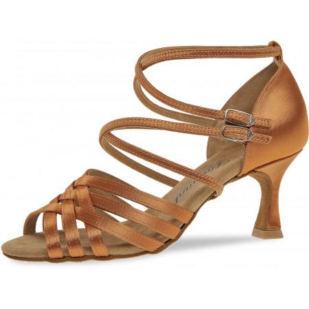 108 Diamant - Chaussures de danses latines à brides en satin tan, talon évasé 6,5cm