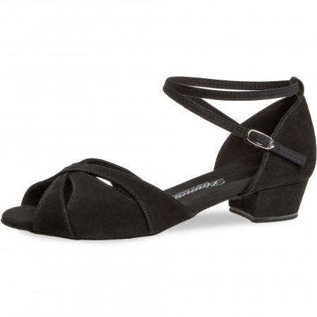 141 Diamant - Chaussures de danse pieds larges en nubuck noir à talons bloc 2,8cm