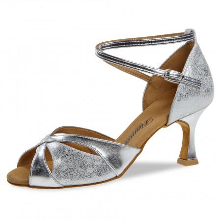 141 Diamant - Chaussures de danse en daim argenté à talons évasé de 6,5cm
