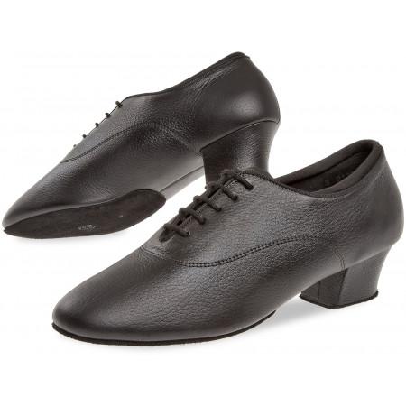 138 Diamant - Chaussures de danses latines bi-semelle en cuir noir, talon cubain 4cm