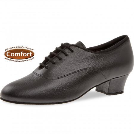140 Diamant - Chaussures de danse semelle confort en cuir noir à talon cubain 3,7cm