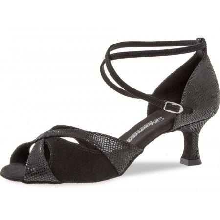 141 Diamant - Chaussures de danse en nubuck noir et imprimé python, talons 5cm