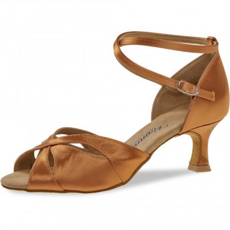 141 Diamant - Chaussures de danses latines en satin tan à talons évasé de 5cm
